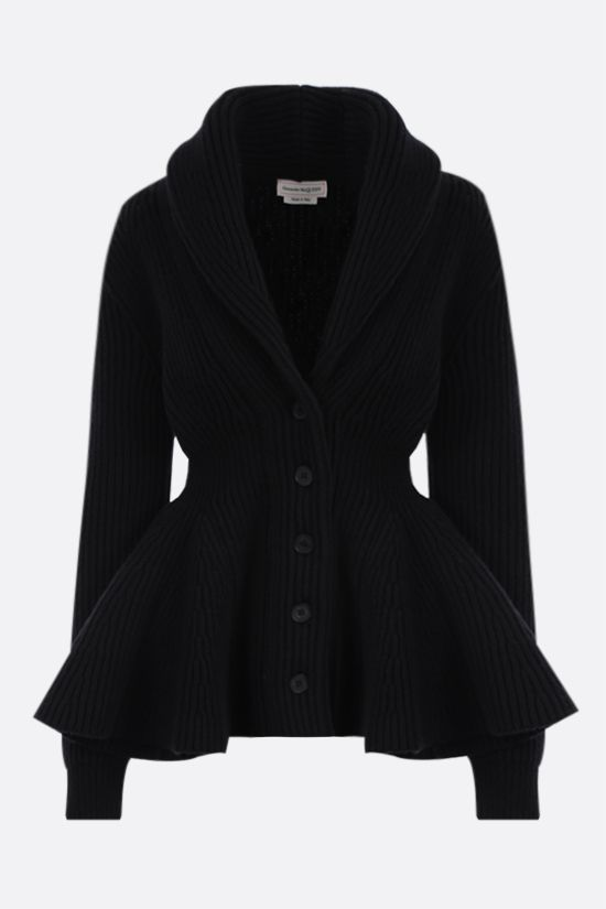 ALEXANDER McQUEEN: peplum hem-detailed wool cardigan Color Black_1