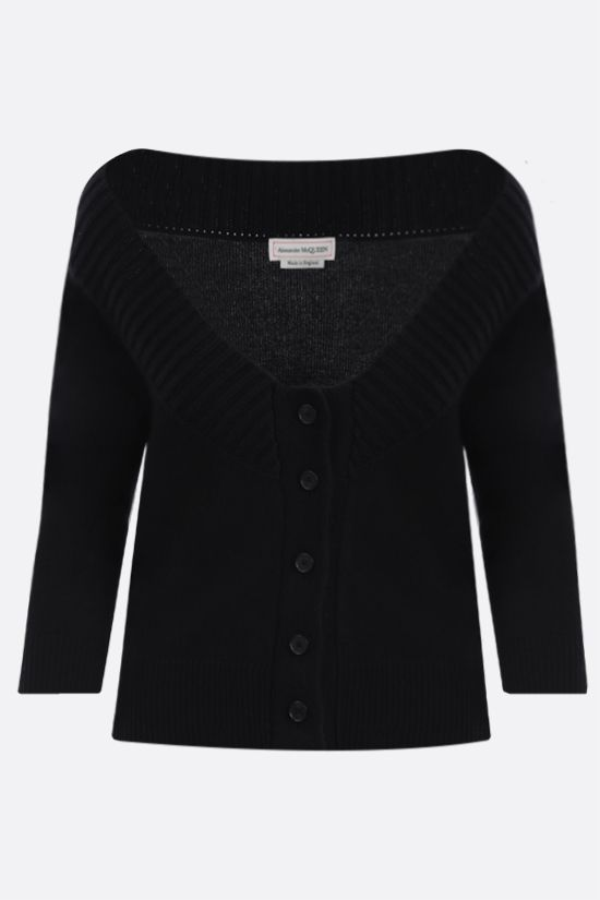 ALEXANDER McQUEEN: pure cashmere cropped cardigan Color Black_1