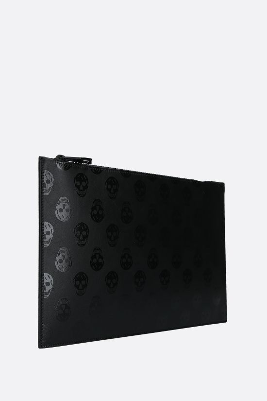 ALEXANDER McQUEEN: Biker Skull print smooth leather clutch Color Black_2