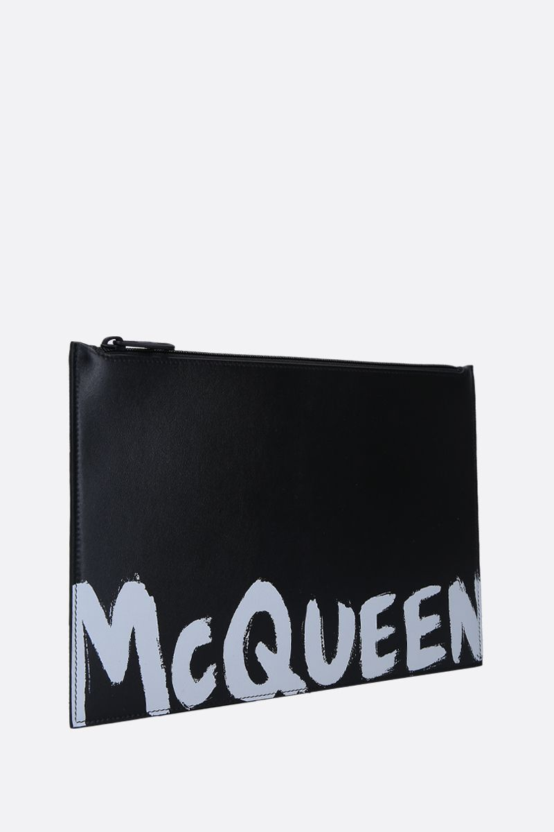 ALEXANDER McQUEEN: logo print smooth leather pouch Color Black_3
