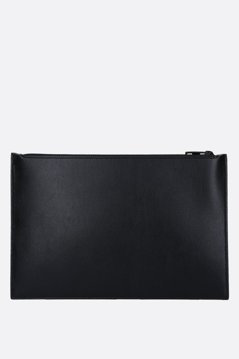 ALEXANDER McQUEEN: logo print smooth leather pouch Color Black_4