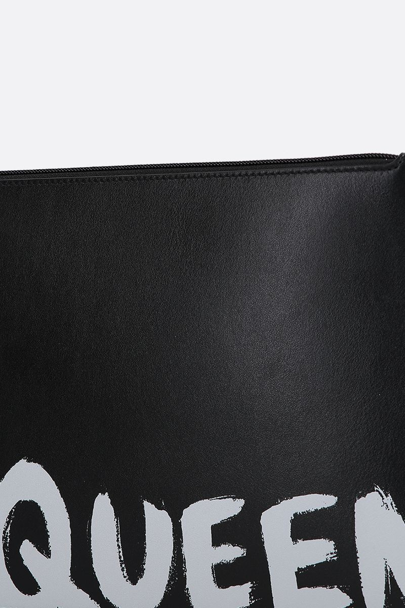 ALEXANDER McQUEEN: logo print smooth leather pouch Color Black_5