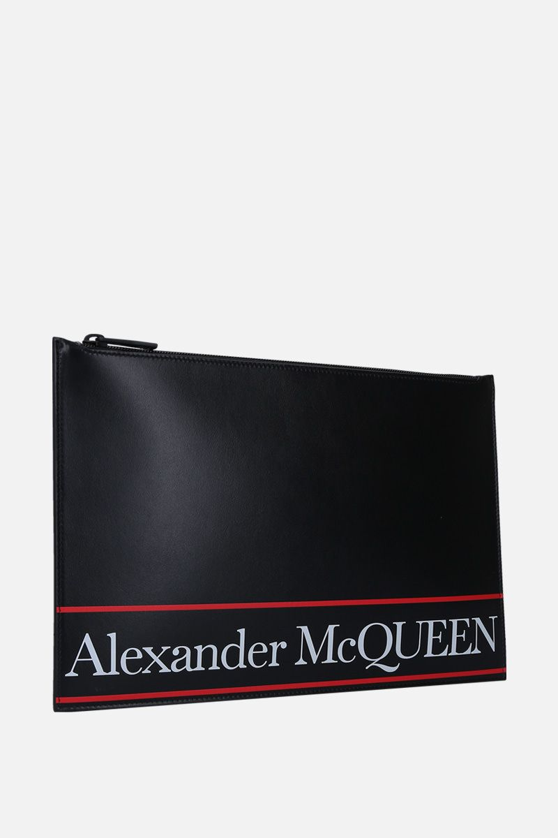 ALEXANDER McQUEEN: logo print smooth leather pouch Color Black_2