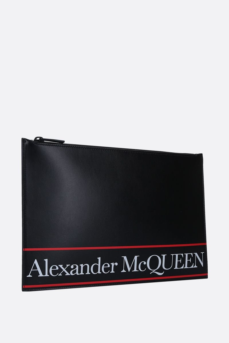 ALEXANDER McQUEEN: logo printed smooth leather pouch Color Black_2