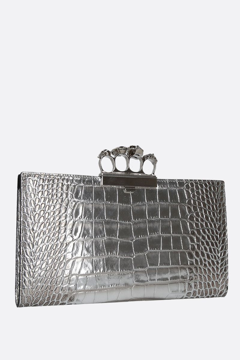 ALEXANDER McQUEEN: Skull four-ring clutch in crocodile embossed leather Color Silver_3