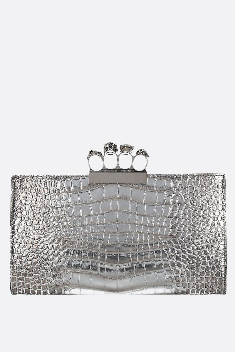 ALEXANDER McQUEEN: Skull four-ring clutch in crocodile embossed leather Color Silver_4