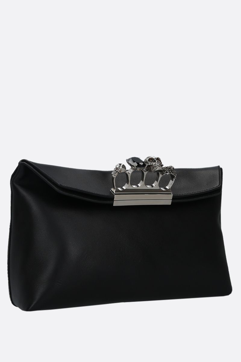 ALEXANDER McQUEEN: Skull smooth leather soft pouch Color Black_2