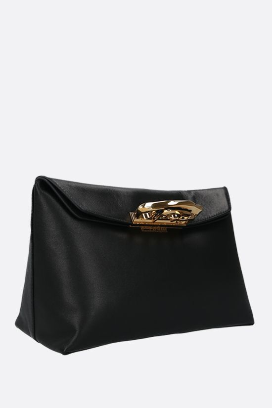 ALEXANDER McQUEEN: Sculptural smooth leather pochette Color Black_2