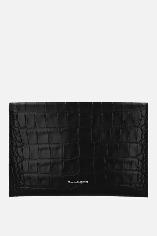 ALEXANDER McQUEEN: Skull crocodile embossed leather clutch Color Black_2