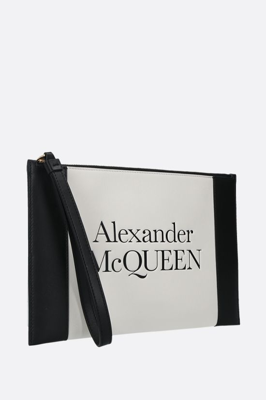 ALEXANDER McQUEEN: Sign smooth leather pouch Color Neutral_2