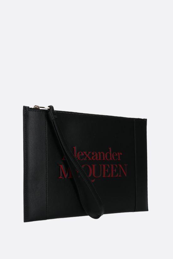 ALEXANDER McQUEEN: Sign smooth leather pouch Color Black_2
