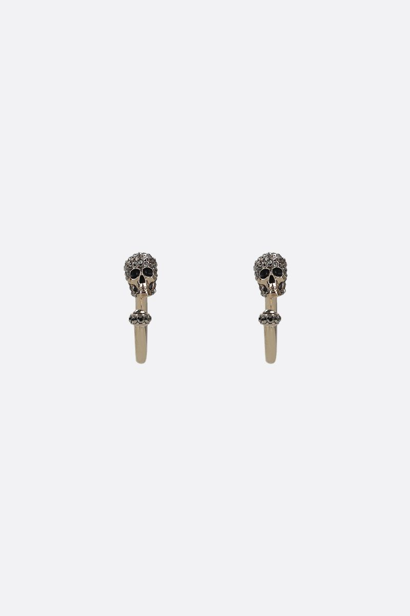 ALEXANDER McQUEEN: Skull-detailed brass hoop earrings Color Gold_1