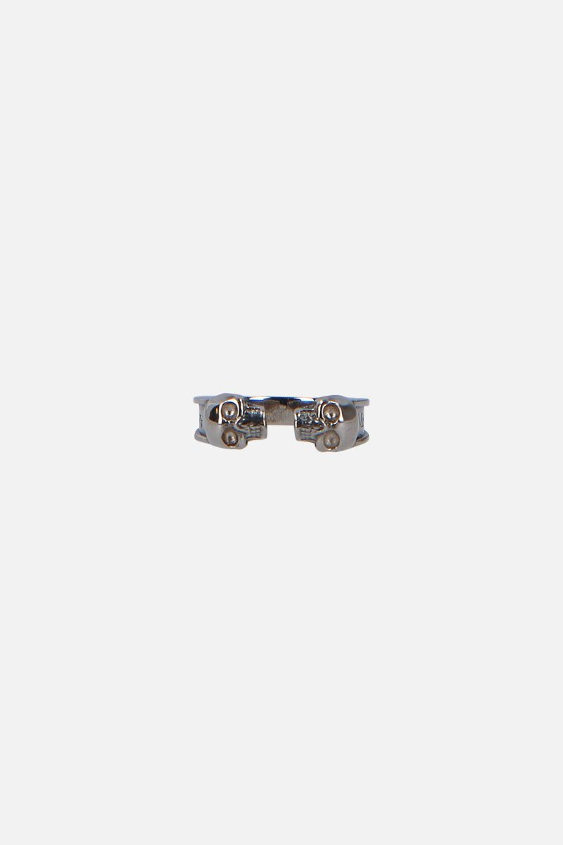 ALEXANDER McQUEEN: Twin Skullbrass ring Color Multicolor_1