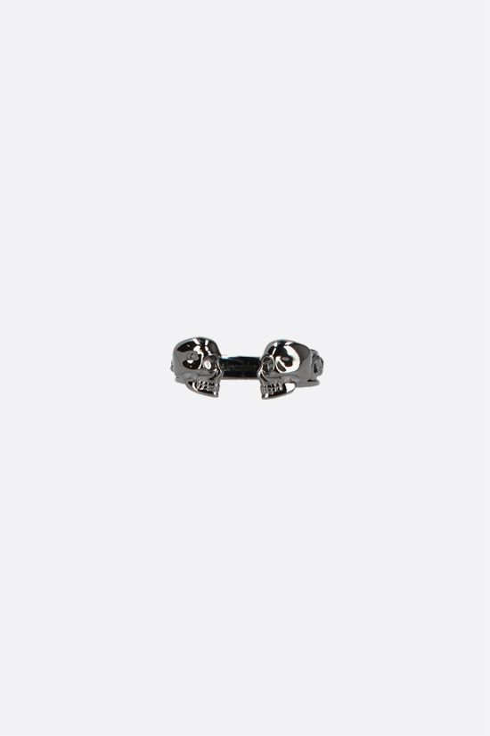 ALEXANDER McQUEEN: Twin Skull brass ring Color Grey_1