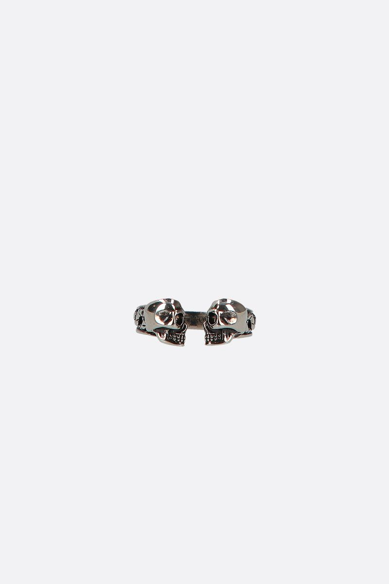 ALEXANDER McQUEEN: Twin Skull brass ring Color Silver_1