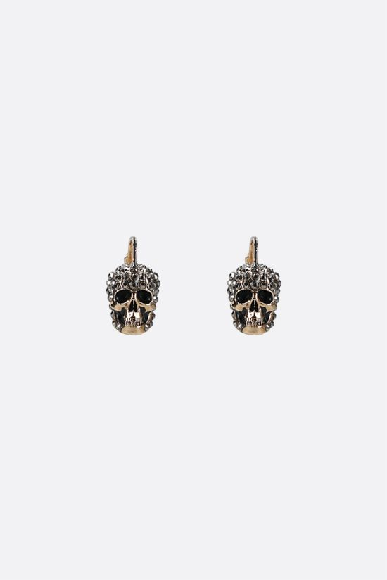 ALEXANDER McQUEEN: Skull-detailed brass earrings Color Gold_1