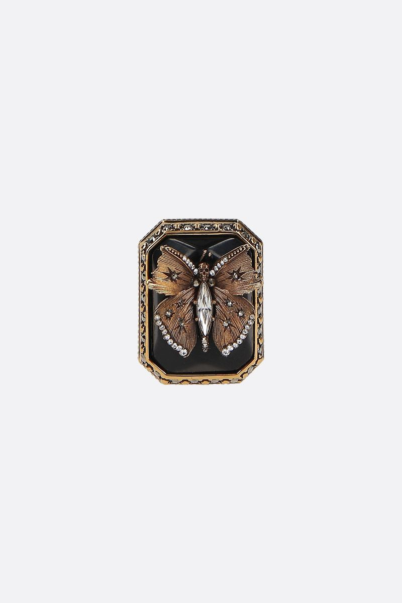 ALEXANDER McQUEEN: Butterfly brass ring Color Gold_1