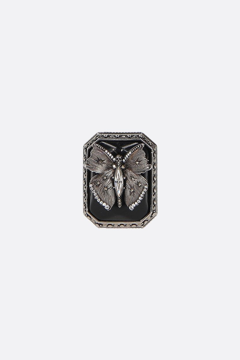 ALEXANDER McQUEEN: Butterfly brass ring Color Silver_1