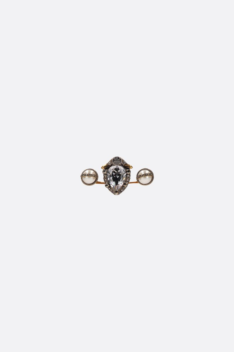 ALEXANDER McQUEEN: brass double-ring with crystals and pearls Color Multicolor_1