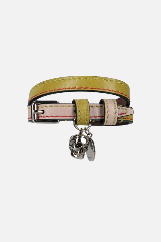 ALEXANDER McQUEEN: Skull bicolour leather double-wrap bracelet Color Yellow_1
