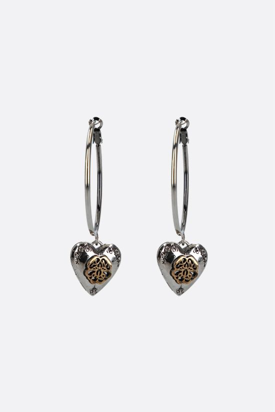 ALEXANDER McQUEEN: heart locket brass hoop earrings Color Silver_1