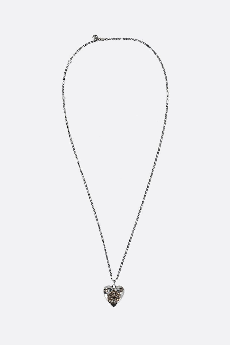 ALEXANDER McQUEEN: heart pendant-detailed brass necklace Color Silver_1