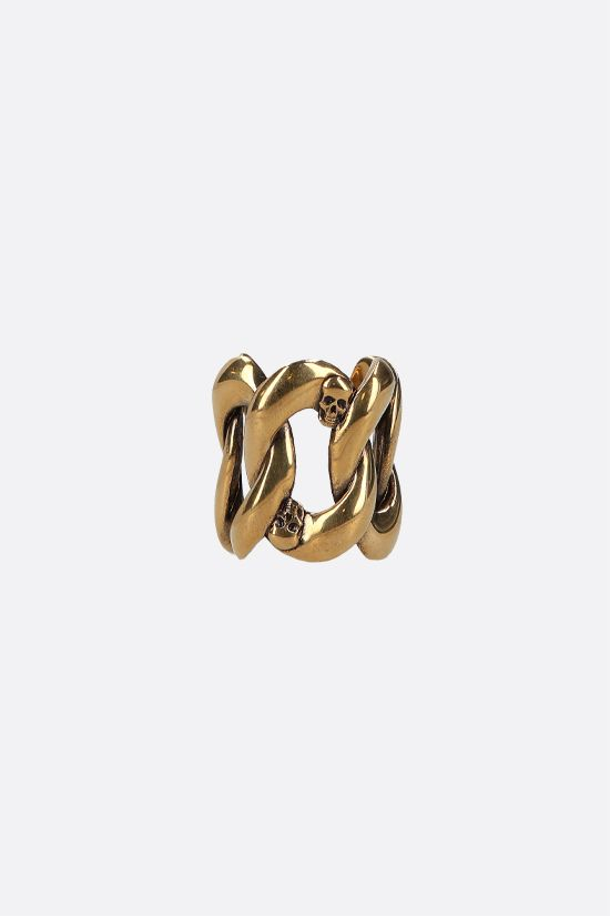 ALEXANDER McQUEEN: Skull-detailed brass chain ring Color Gold_1