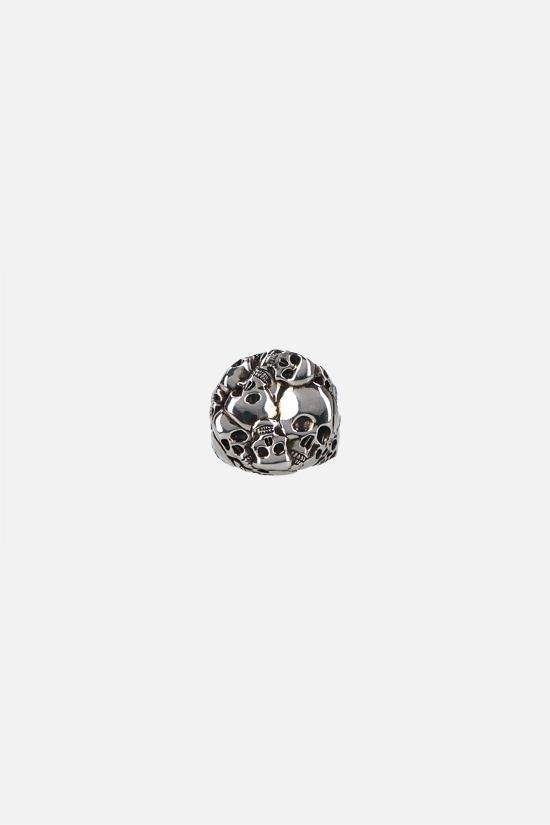 ALEXANDER McQUEEN: Multi Skull brass ring Color Silver_1