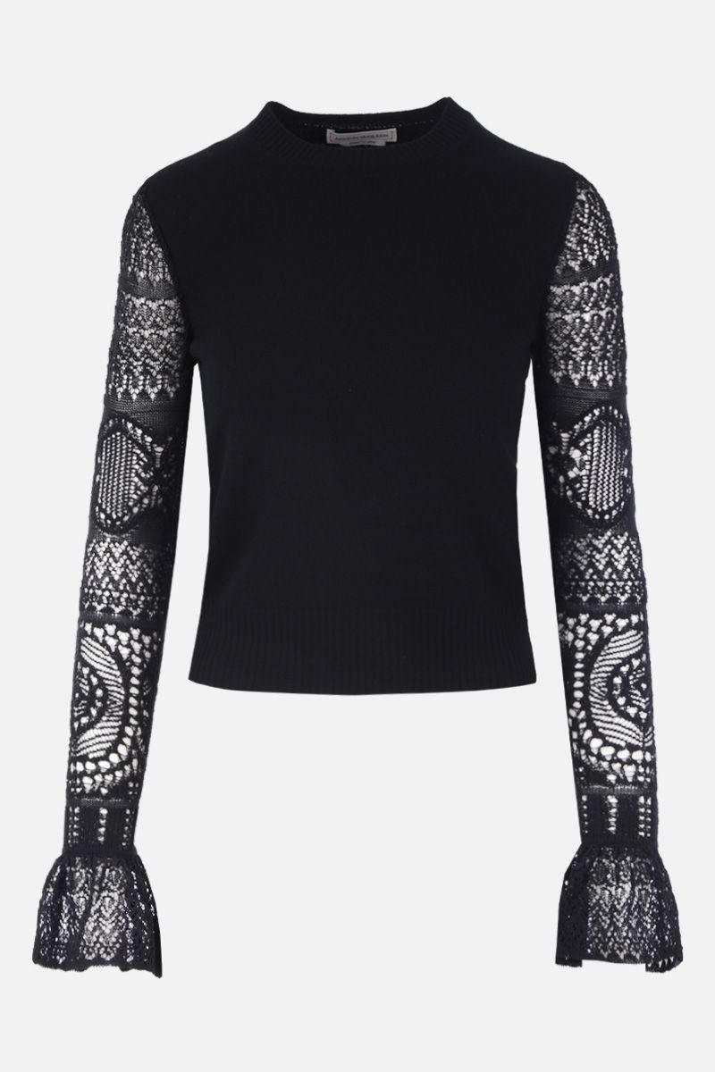 ALEXANDER McQUEEN: wool pulover with lace sleeves Color Black_1