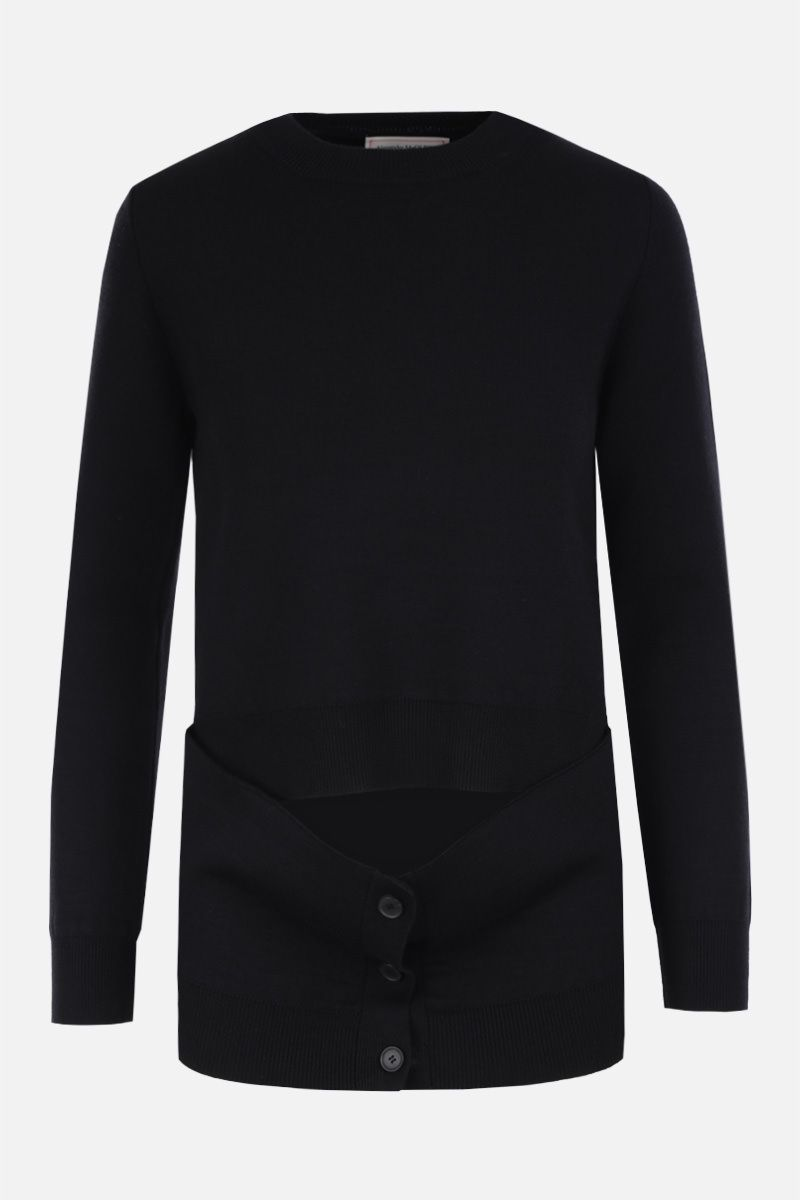 ALEXANDER McQUEEN: deconstructed pullover in wool silk blend Color Black_1