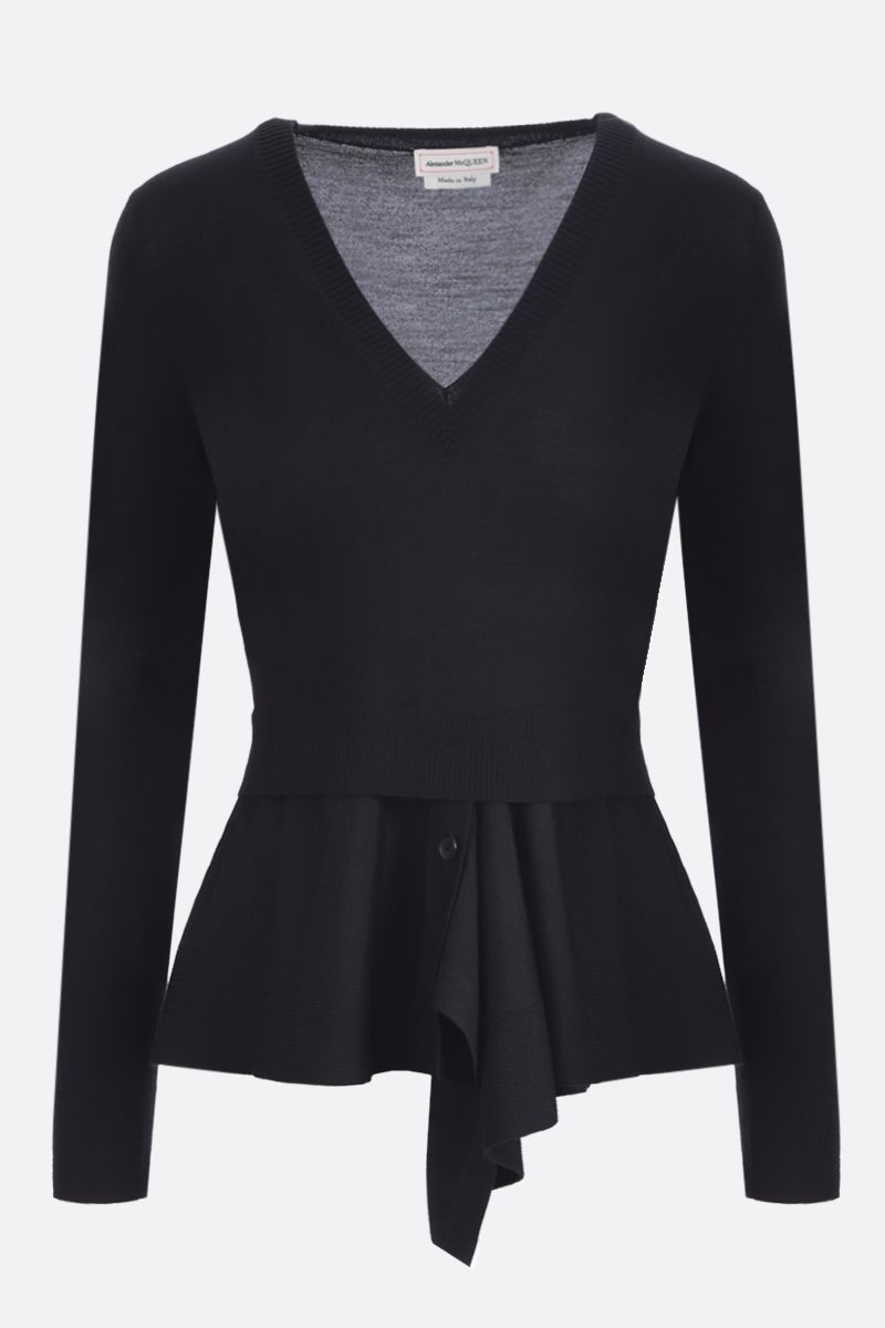 ALEXANDER McQUEEN: wool cashmere blend asymmetric pullover Color Black_1