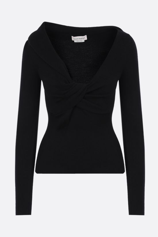 ALEXANDER McQUEEN: knot-detailed wool pullover Color Black_1