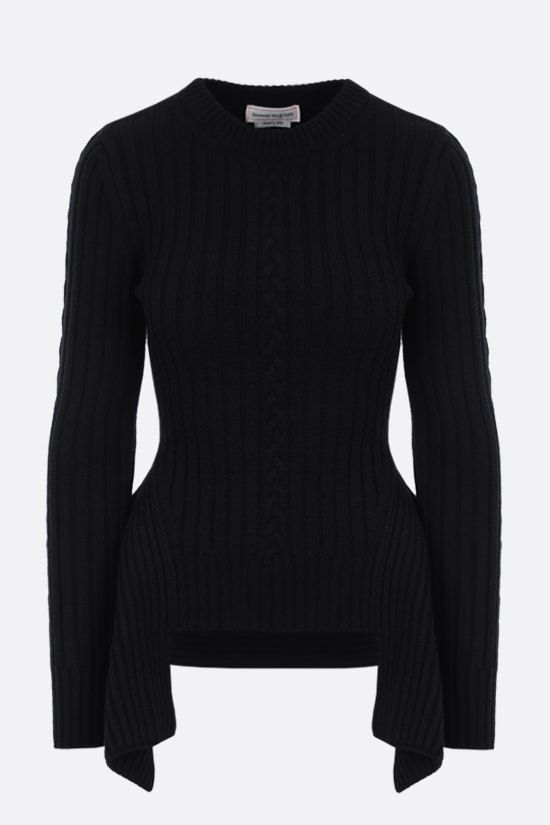 ALEXANDER McQUEEN: peplum hem-detailed wool cashmere blend pullover Color Black_1