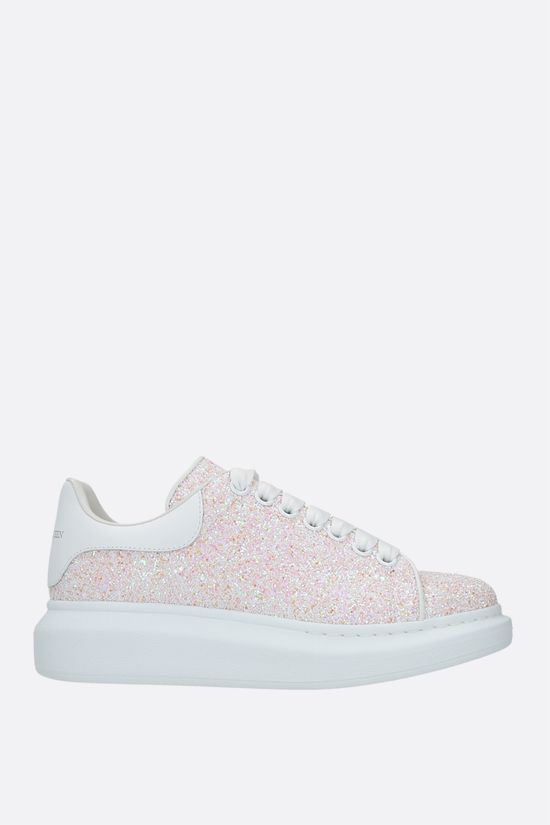 ALEXANDER McQUEEN: Oversize glitter fabric sneakers Color White_1