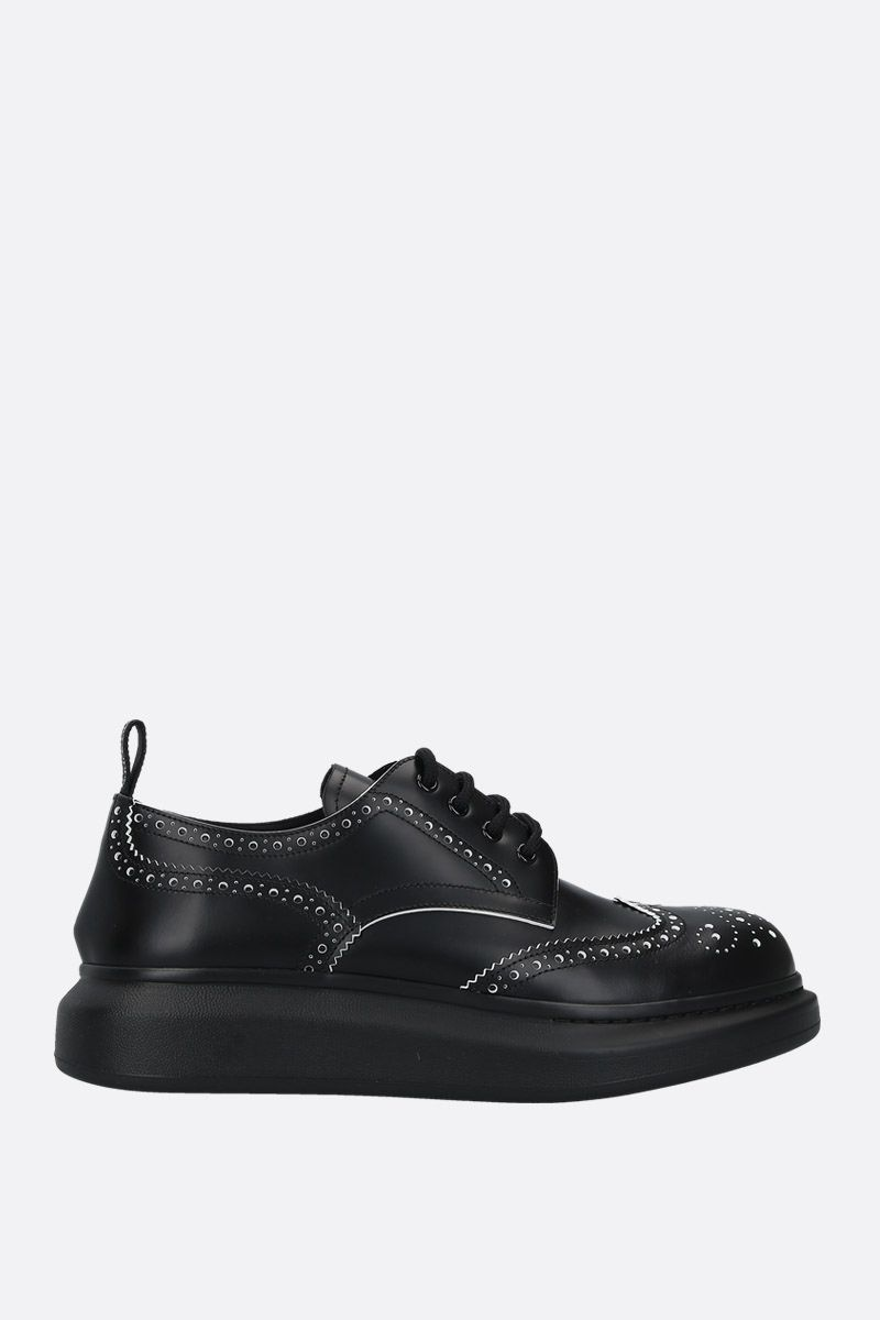 ALEXANDER McQUEEN: Hybrid smooth leather derby shoes Color Black_1