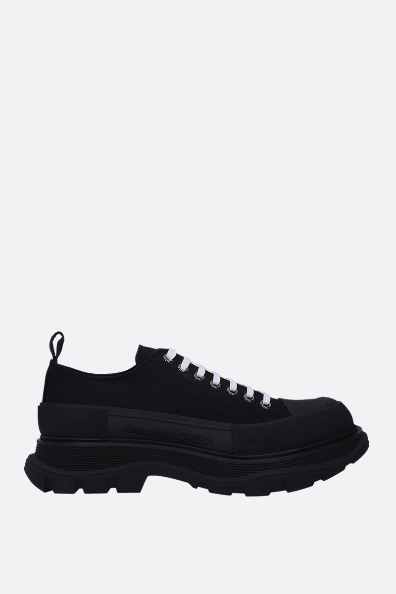 ALEXANDER McQUEEN: sneaker low-top in canvas Colore Nero_1