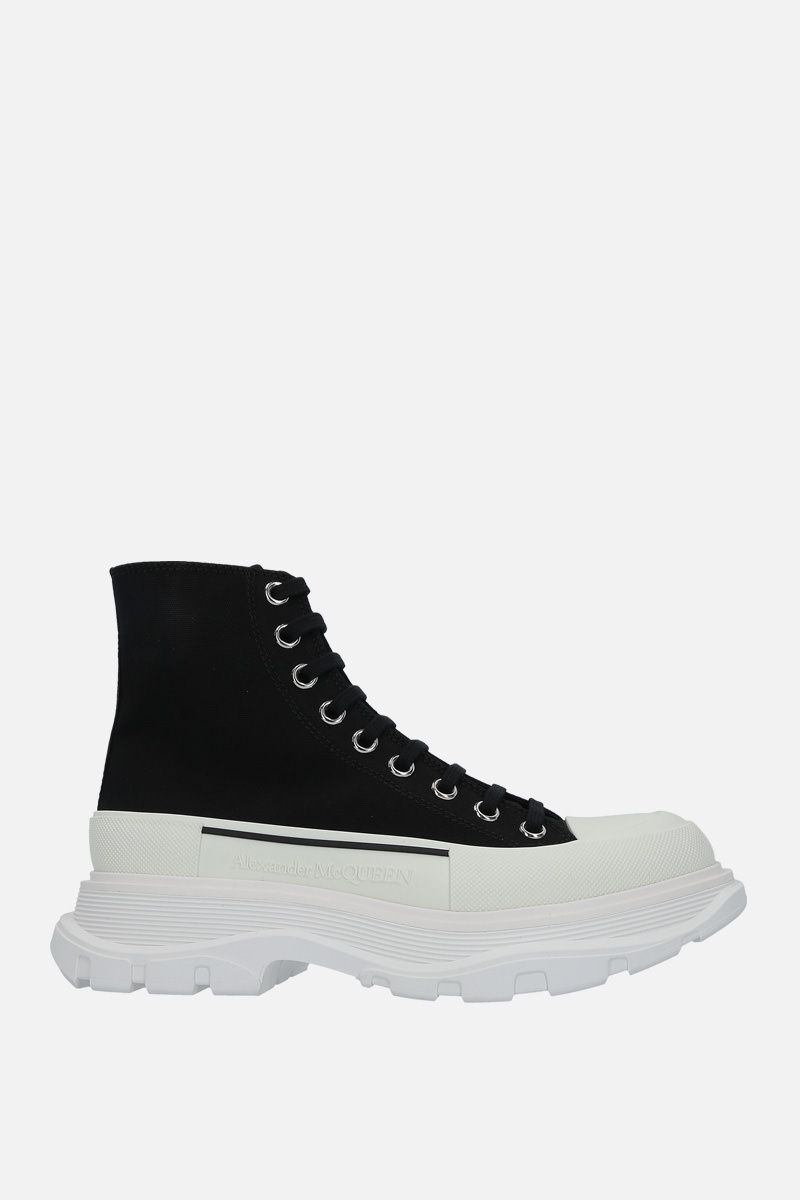 ALEXANDER McQUEEN: Tread canvas combat boots Color Black_1