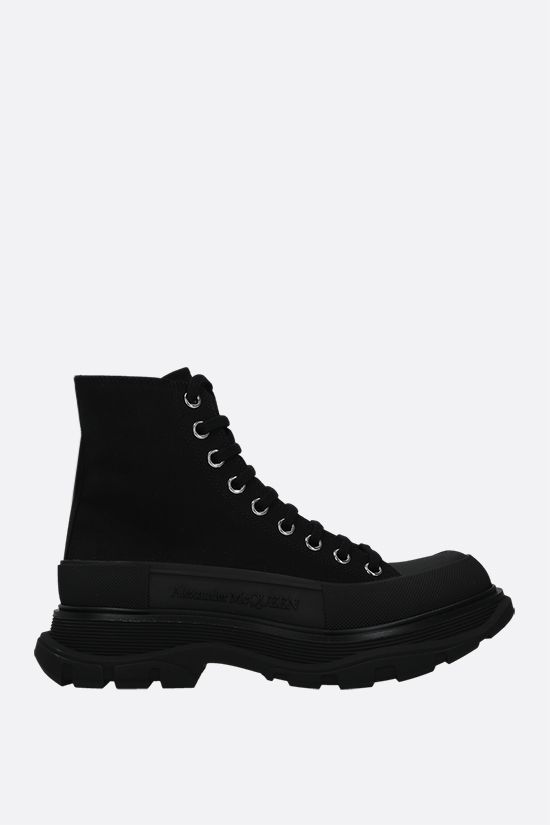 ALEXANDER McQUEEN: Tread Slick canvas high-top sneakers Color Black_1