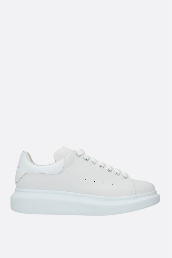 ALEXANDER McQUEEN: Oversize nylon and smooth leather sneakers Color White_1