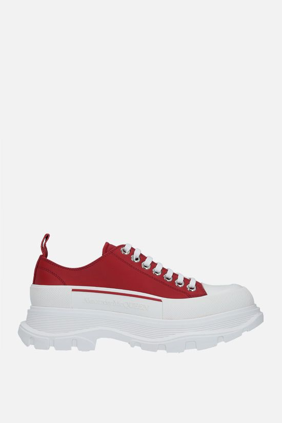 ALEXANDER McQUEEN: Tread Slick smooth leather sneakers Color Red_1