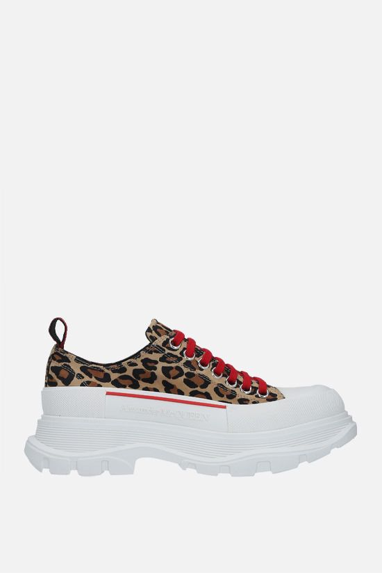 ALEXANDER McQUEEN: Tread Slick leopard suede sneakers Color Animalier_1