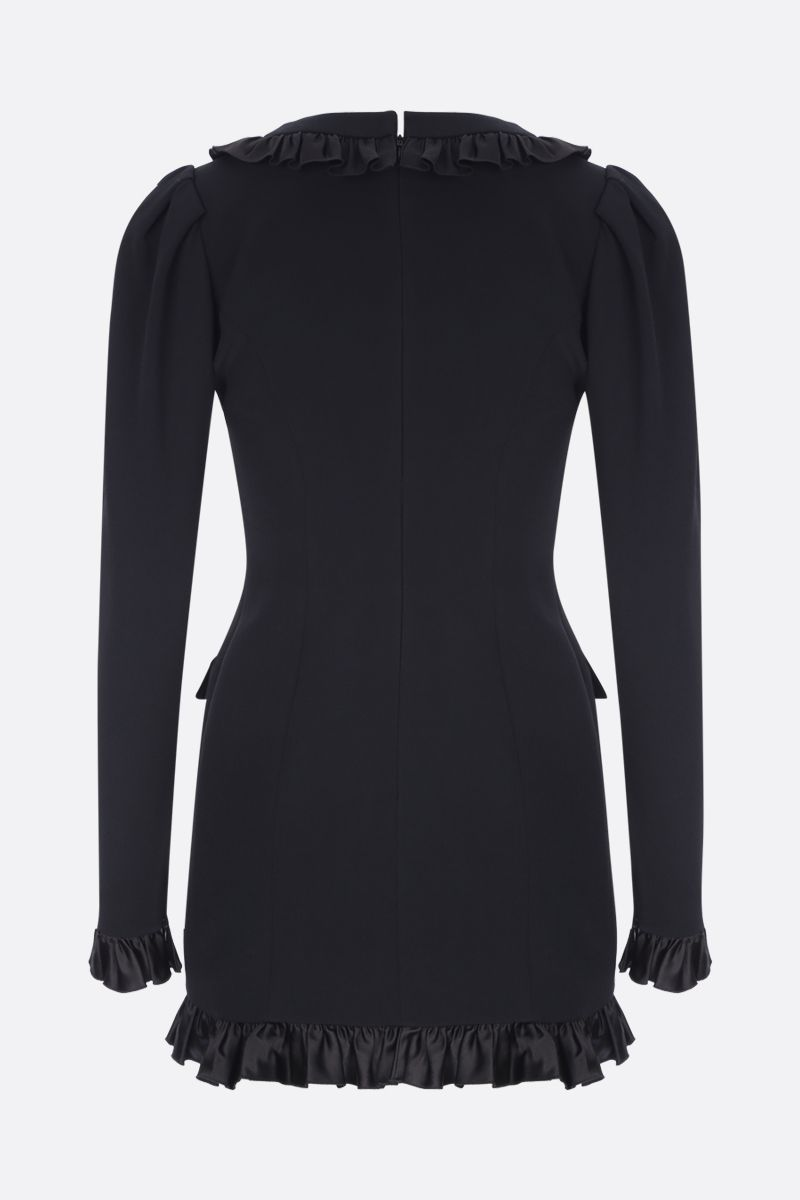 ALESSANDRA RICH: ruched stretch cady minidress Color Black_2