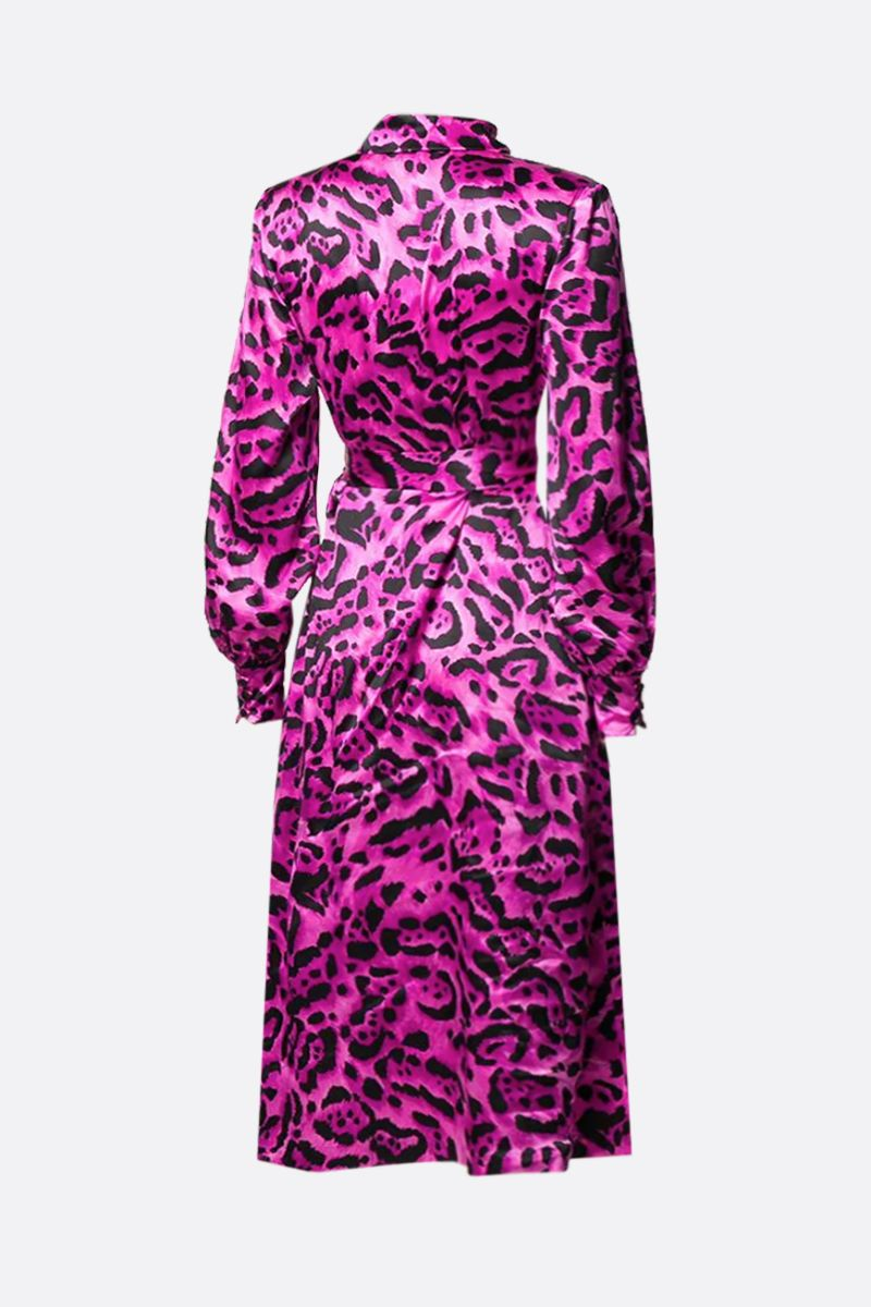 ALESSANDRA RICH: leopard print silk midi dress Color Pink_2