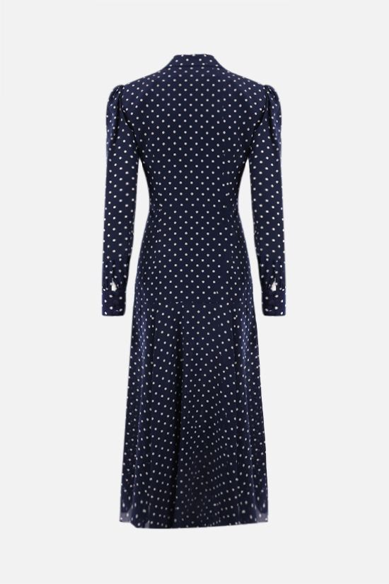 ALESSANDRA RICH: lace collar-detailed silk shirt dress Color Blue_2