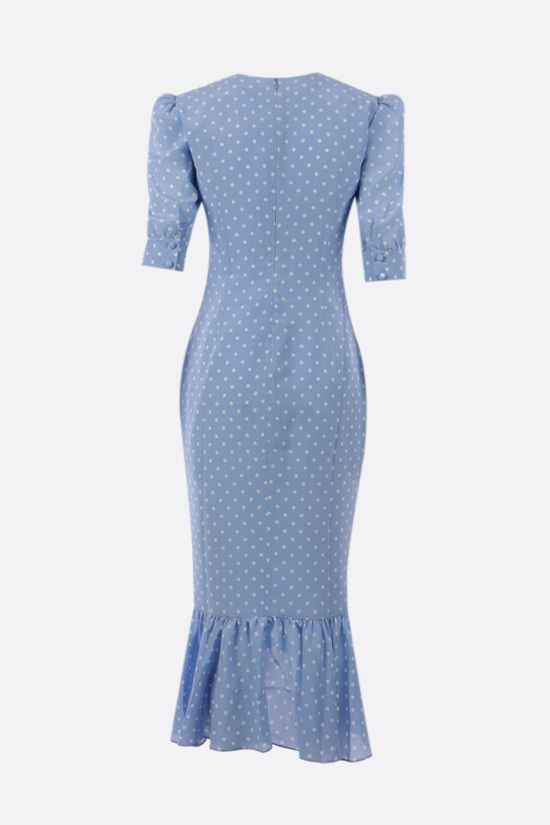ALESSANDRA RICH: polka dot gathered silk dress Color Blue_2