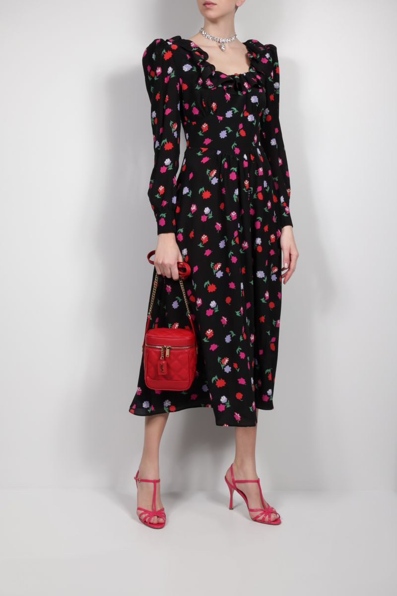 ALESSANDRA RICH: floral print silk midi dress Color Black_2