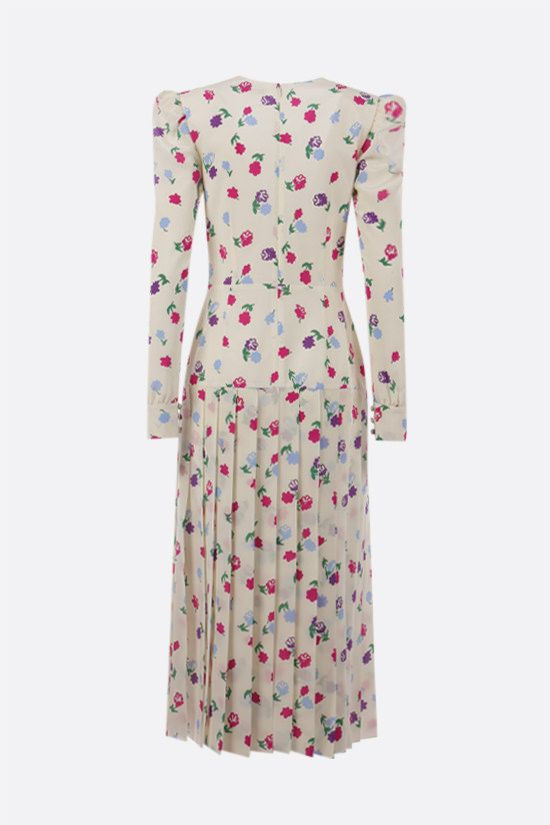 ALESSANDRA RICH: floral print pleated silk dress Color White_2
