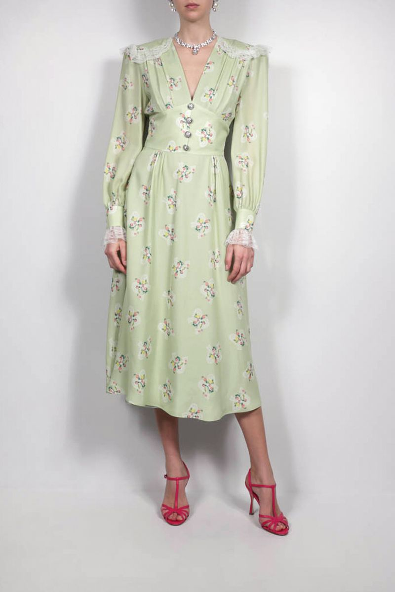 ALESSANDRA RICH: floral print silk long dress Color Green_2