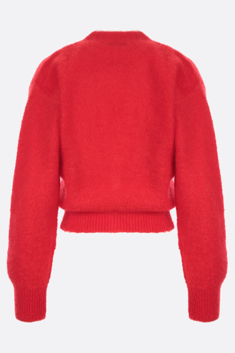 ALESSANDRA RICH: cropped mohair blend cardigan Color Red_2
