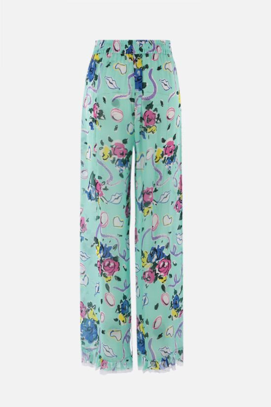 ALESSANDRA RICH: Floral Ribbon print crepe de chine palazzo pants Color Green_2